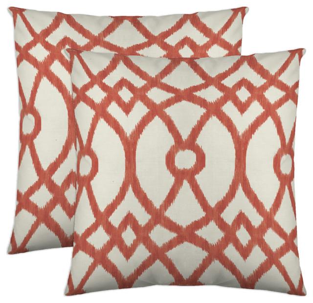 Piper Decorative Pillow, 18x18, Coral, Set Of 2.