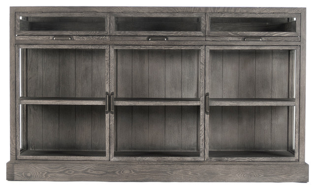 Hazel Creek Industrial Loft Gray Oak Display Media Wall Cabinet - Industrial - Media Cabinets ...