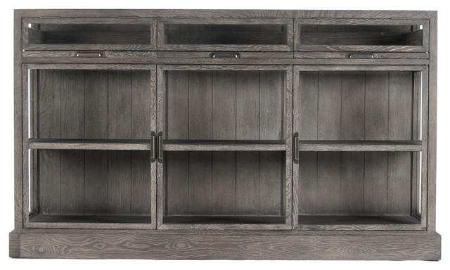 Hazel Creek Industrial Loft Gray Oak Display Media Wall Cabinet - Industrial - Media Cabinets ...