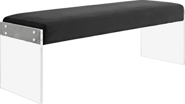 Tully Velvet Bench, Black.