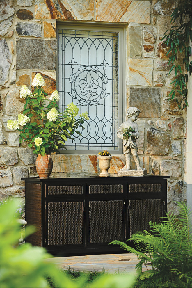 Resin wicker outdoor buffet with storage - Traditional ...