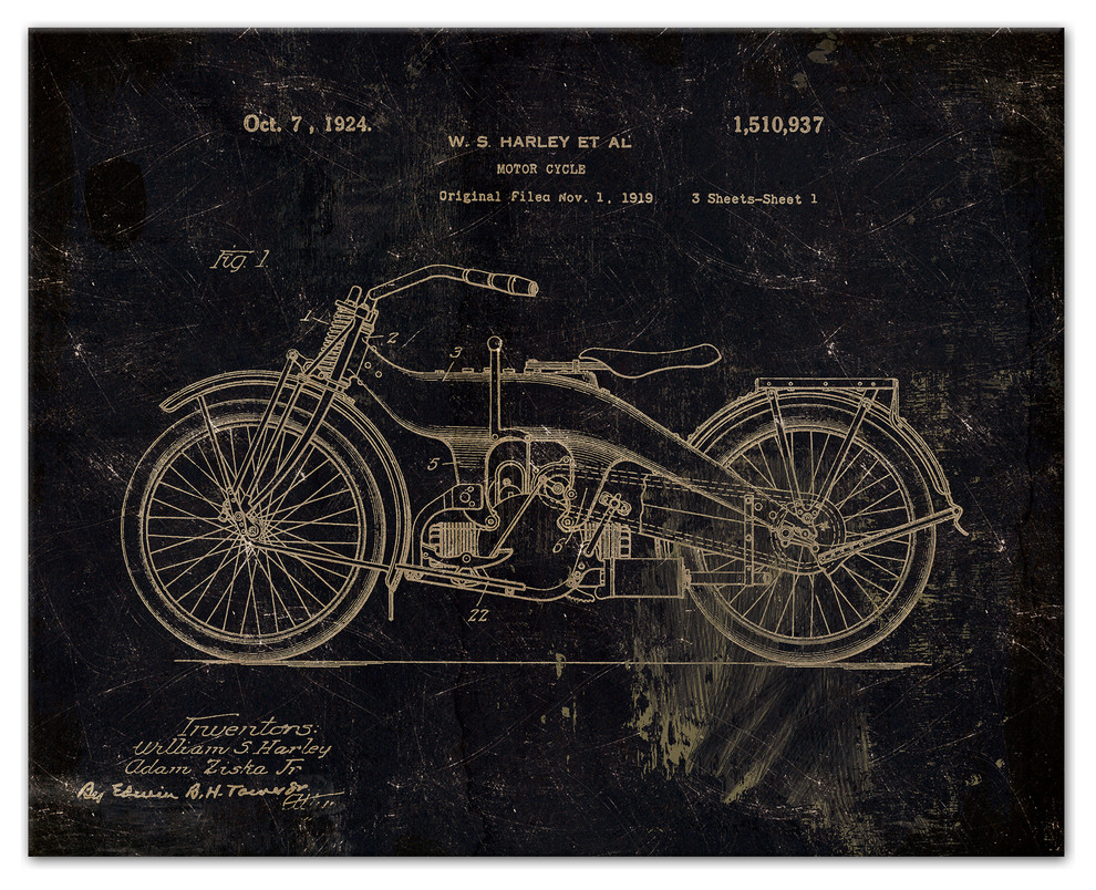Antique Harley-Davidson MOTORCYCLE 1924 Motor Cycle Advertising Poster Art Print