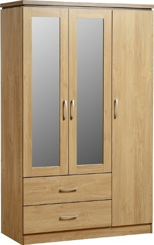 Modern Wardrobe, Walnut Finished MDF With 2-Mirrored Door and 2-Drawer