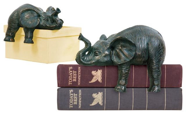 Sprawling Elephants, 2-Piece Set