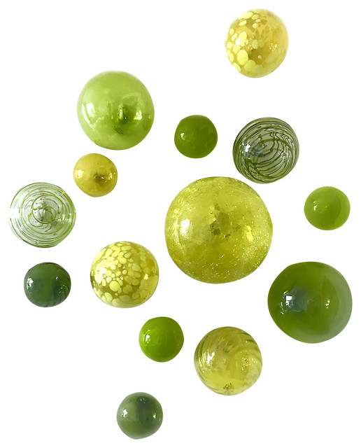 Wall Spheres Lemon Twist Set Of 14 Contemporary Wall Accents By Worldly Goods Too Houzz