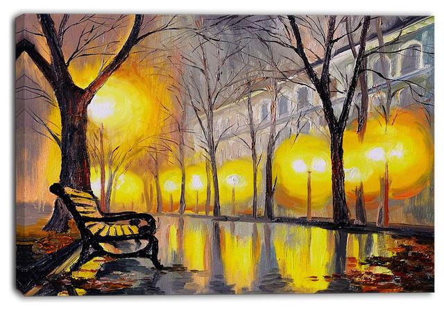 """empty Autumn Street"" Landscape Canvas Artwork, 40""x30""."