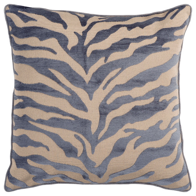 "Velvet Zebra By Surya Down Fill Pillow, Tan/charcoal, 22""x22"", Js032-2222d."