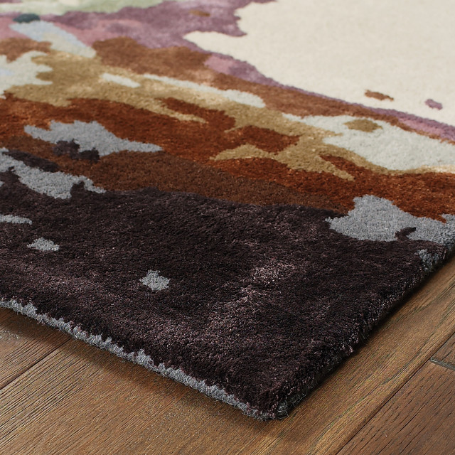 Galen Contemporary Abstract Blue/ Brown Area Rug, 5'x8'