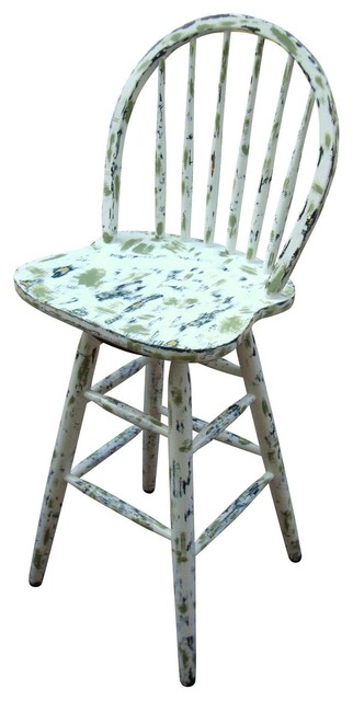Astounding Consigned Country Cottage Hand Painted Distressed Bar Stool Spiritservingveterans Wood Chair Design Ideas Spiritservingveteransorg
