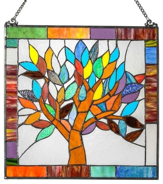 "Tiffany-Style Stained Glass Mystical World Tree Window Panel, 18""."