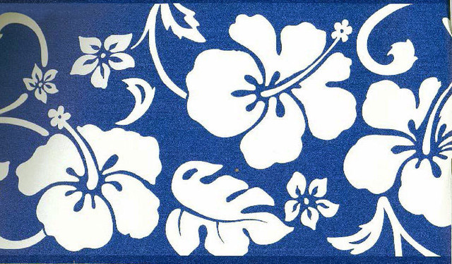 Blue Hibiscus Wallpaper Border Roll Tropical