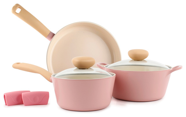 Retro 5-Piece Ceramic Nonstick Cookware Set, Pink.