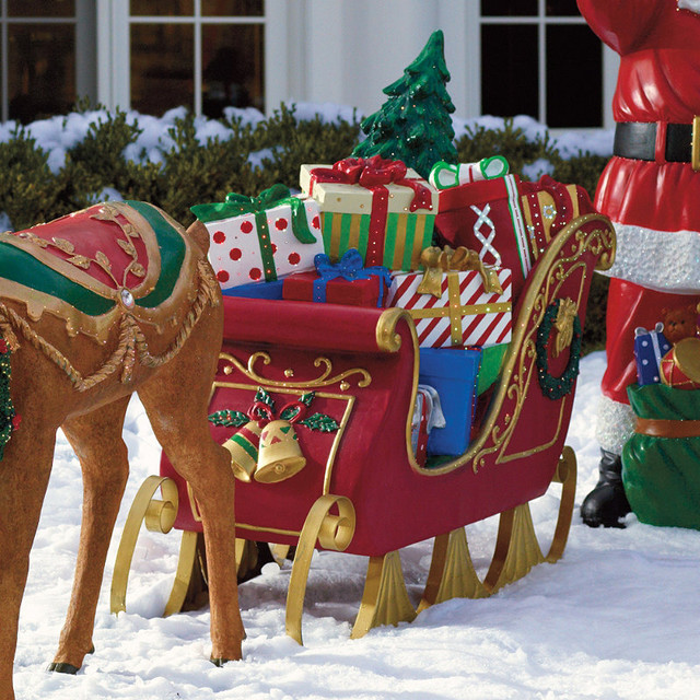 fiber optic sleigh frontgate outdoor christmas decorations - Outdoor Christmas Sleigh Decorations