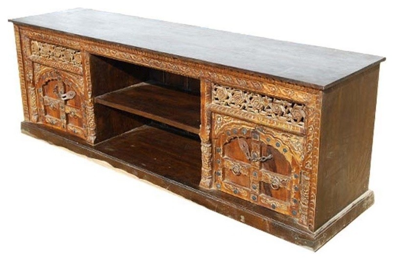 Palace Gates Double Cabinet Solid Wood Rustic Tv Media Console