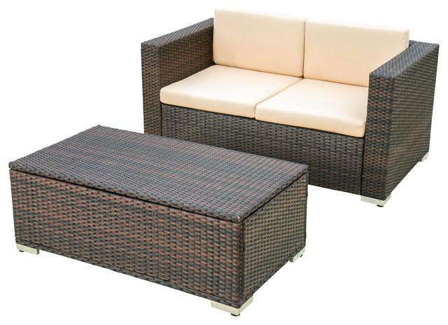 Westlake 2-Piece Outdoor Wicker Love Seat Set, Brown  contemporary-outdoor-lounge - Westlake 2-Piece Outdoor Wicker Love Seat Set, Brown