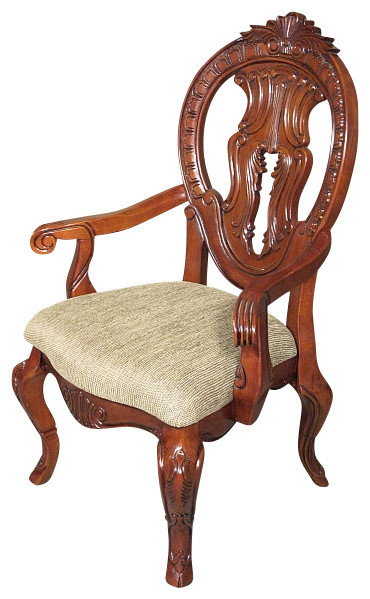 Traditional Wood Dining Chairs solid mahogany cherry round back carved tan occasional arm chair
