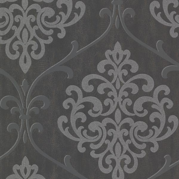 Brewster Home Fashions Ambrosia Charcoal Glitter Damask
