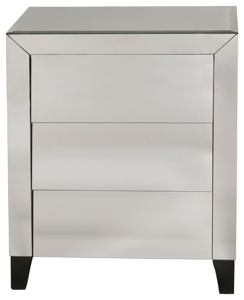 Mirrored Louver Three Drawer Chest