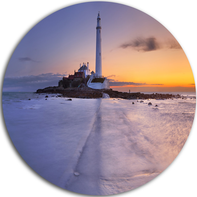 Sunrise Over St Mary S Lighthouse Seascape Disc Metal Wall Art 11