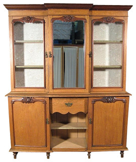 Consigned Antique English Oak Mahogany Victorian Welsh Dresser Hutch W Mirror China Cabinets And Hutches By Mbw Furniture