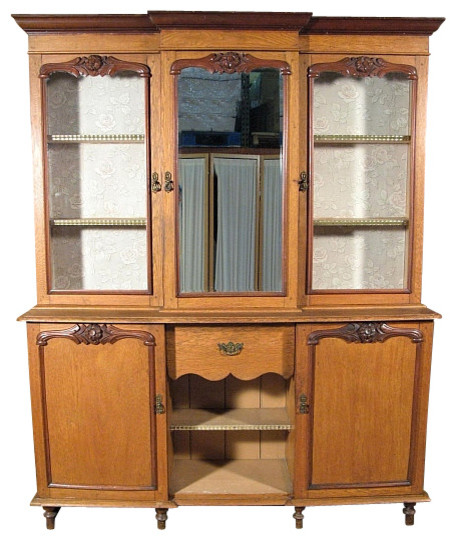 Consigned Antique English Oak Mahogany Victorian Welsh Dresser Hutch W Mirror China