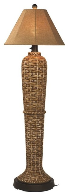 """South Pacific 60"""" Outdoor Floor Lamp With Sesame Sunbrella Shade"""