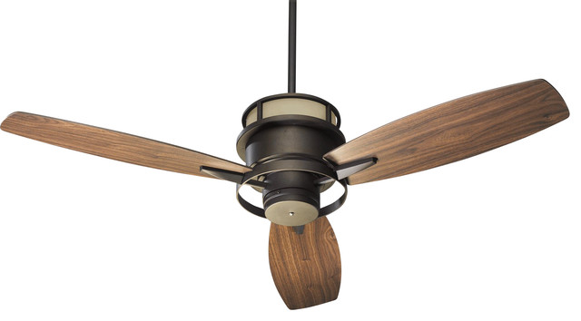 Bristol 54 Contemporary Ceiling Fan, Oiled Bronze, Amber Scavo, Walnut.