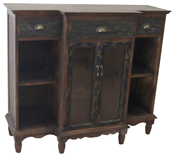 Wendover Two Tone Wood Wine Cabinet Traditional