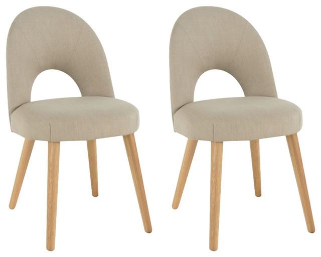 Oslo Oak Stone Upholstered Chairs, Set of 2