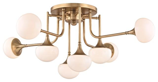 Fleming 8-Light Semi Flush - Aged Brass Finish With Opal Glossy Glass.