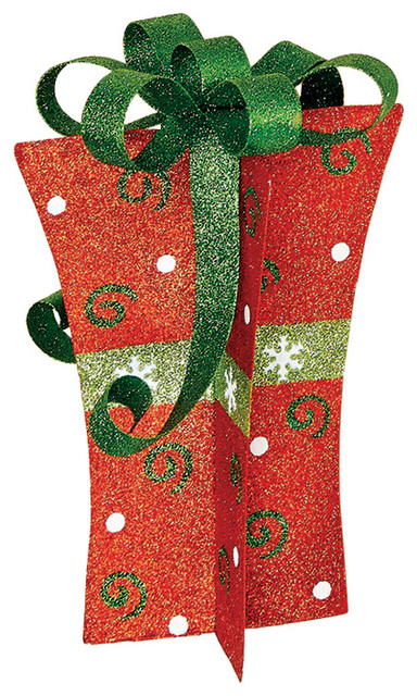 """12"""" Red, Gold, And Green Metal Gift Box Decor."""