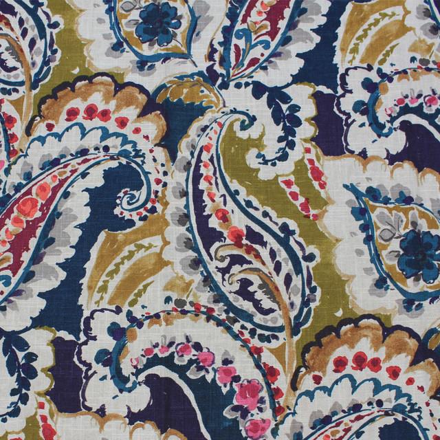Mandovi Paisley Upholstery Fabric, Navy Blue