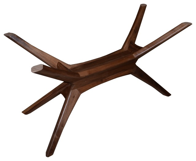 Vt collection bauhaus architectural star base solid walnut for Dining table support