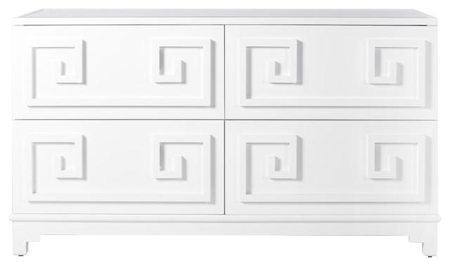 Lucio Hollywood Regency Greek White Lacquer Mirror Dresser.