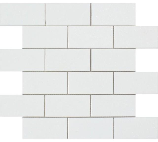 "12""x12"" Honed Thassos Marble Brick Mosaic, Set Of 10."