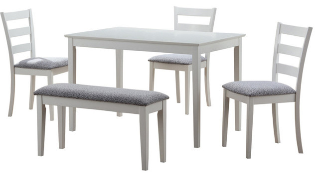 5 Piece Dining Set With Bench And Chairs, White Transitional Dining Sets