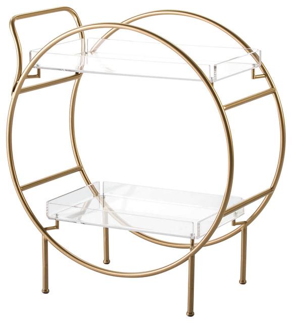 Round Gold Bar Cart With Transparent Shelves