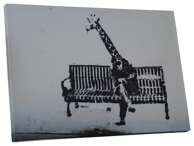 Banksy Business Giraffe Canvas Wall Art - Contemporary - Prints And ...