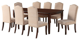 Rowena 9-Piece Dining Set With Upholstered Chairs, Cherry
