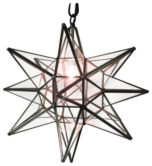 Moravian Star Light Clear Gl With Bronze Trim 19 Diameter No Mount Kit