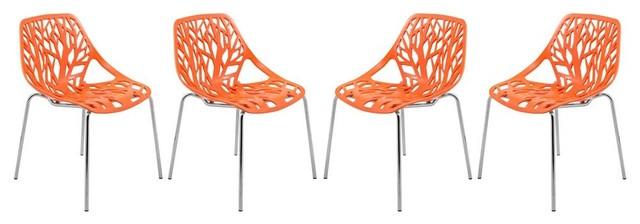 Pleasing Modern Dining Chair In Orange Set Of 4 Camellatalisay Diy Chair Ideas Camellatalisaycom