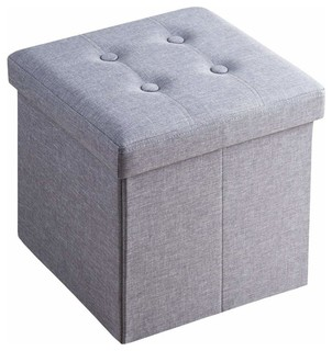 Super Foldable Ottoman Storage Box Upholstered Grey Linen Fabric Ncnpc Chair Design For Home Ncnpcorg