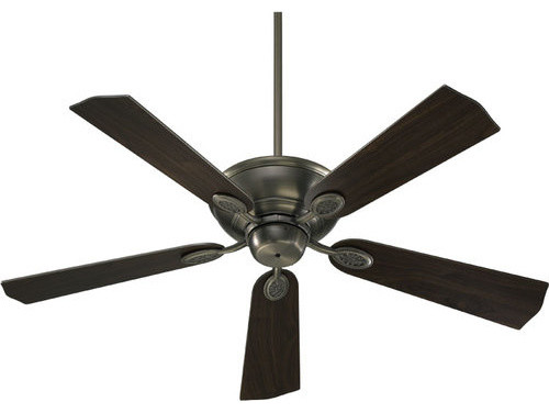 "Quorum International 38525-92 Kingsley 52"" Ceiling Fan, Antique Silver."