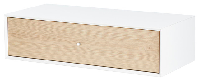 Hms Furniture Mdf Furniturebox With 1 Wooden Drawer, White And Oak.