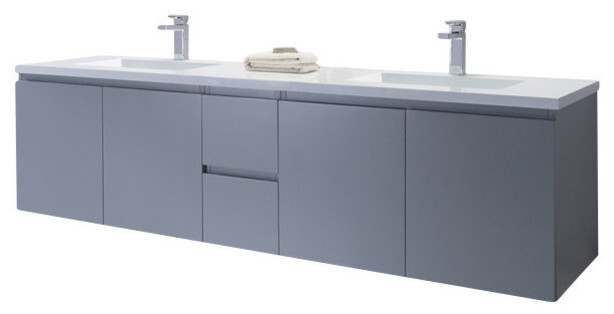 Vanity Adams 72 With Solid Surface Top Metal Gray