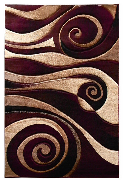 Abstract Swirl Design Area Rug Contemporary Area Rugs