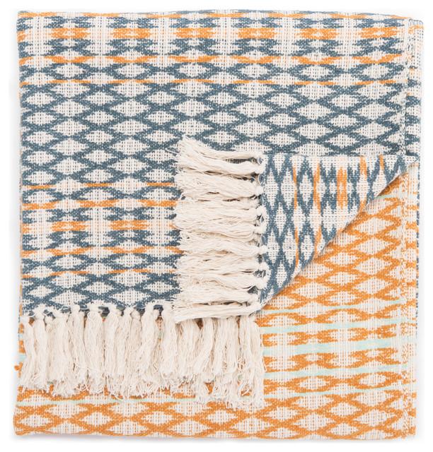 Jaipur Living Callista Teal/orange Geometric Throw, 50x60.