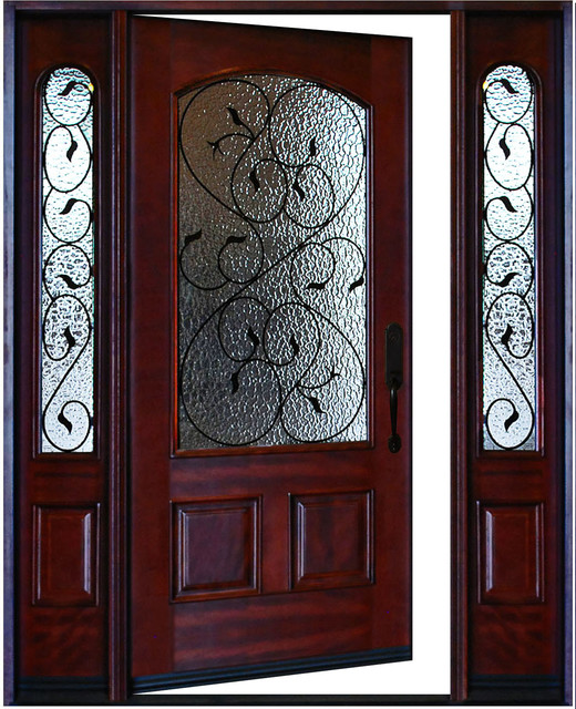 Exterior Front Entry Valencia Deluxe Wood Door With Sidelights Left Swing In