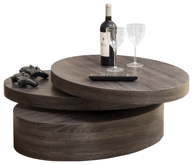 lenox oval mod rotating wood coffee table - contemporary - coffee