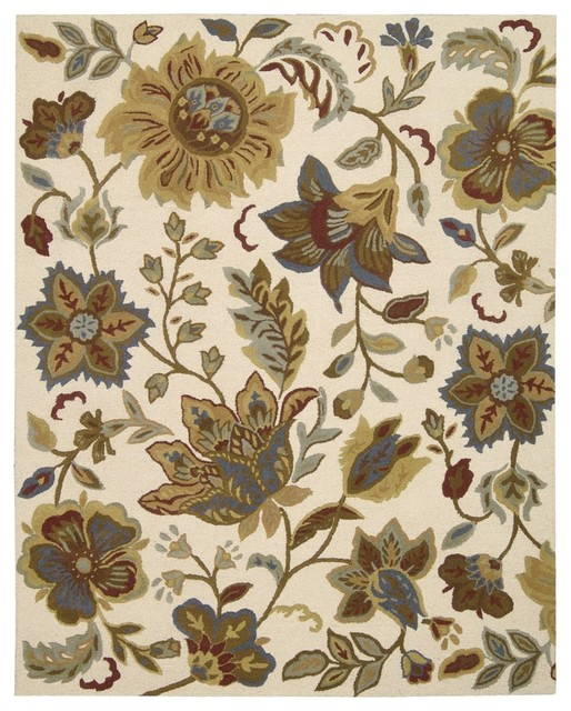 In Bloom Floral Ivory Scrolls Nourison Rug Hall And